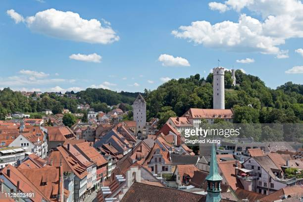 view from blaserturm to obertor, mehlsack tower and veitsburg (from left), ravensburg, baden-wuerttemberg, germany - ravensburg stock-fotos und bilder