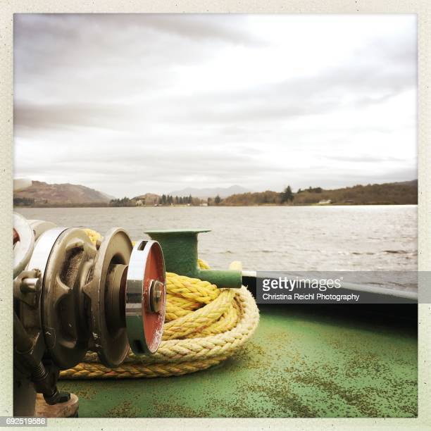 view from boat on loch ness, scotland, uk - vereinigtes königreich stock pictures, royalty-free photos & images