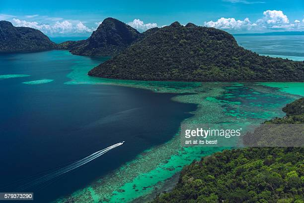view from bohey dulang island - sabah state stock pictures, royalty-free photos & images