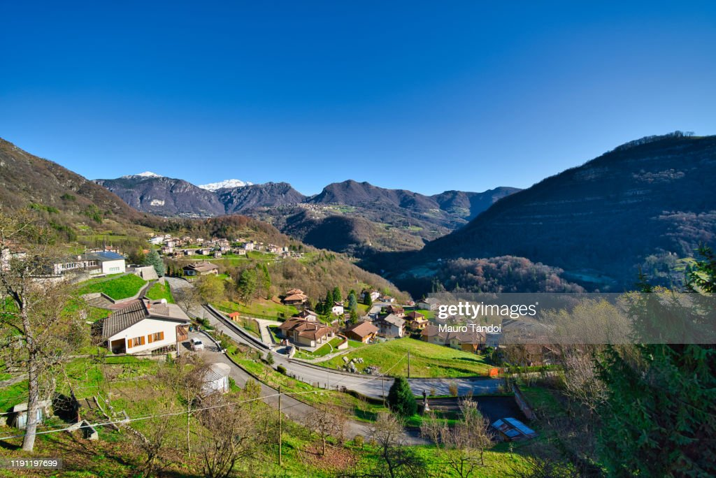 View from Bracca village, Bergamo Province, Italy : Stock Photo