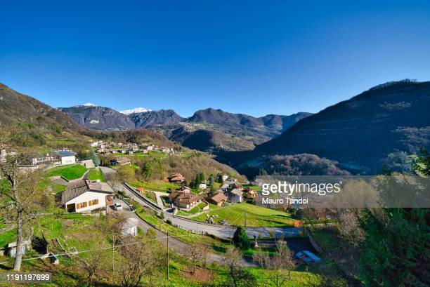 view from bracca village, bergamo province, italy - mauro tandoi stock photos and pictures