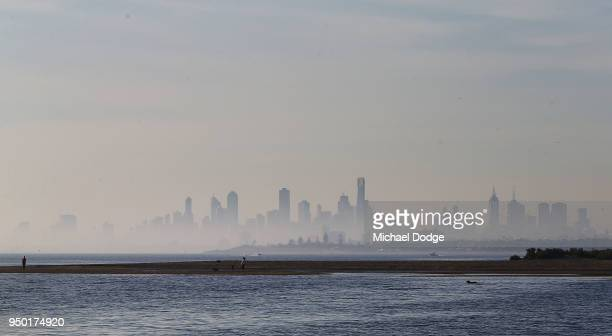 A view from Brighton foreshore is seen as city fog hangs on April 23 2018 in Melbourne Australia Melbourne has been experiencing unseasonably warm...