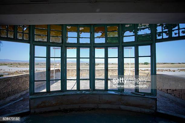 View from broken window at control tower to the runway at the abandoned Nicosia International Airport on April 28, 2016 in Nicosia, Cyprus .On 27...
