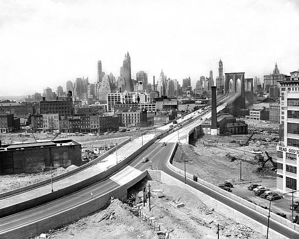 View from Brooklyn side of the Brooklyn Bridge.