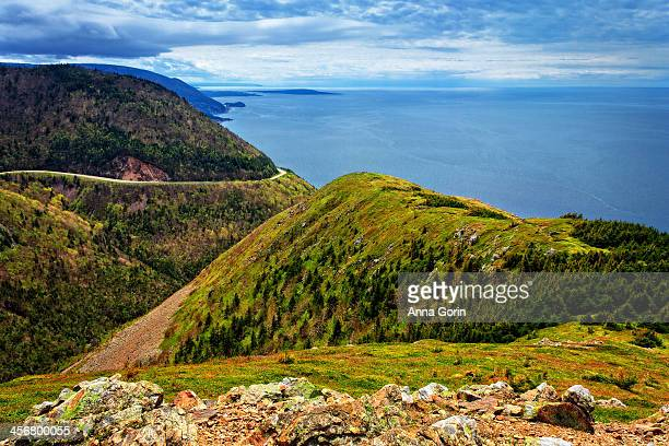 view from cabot trail in cape breton highlands - cape breton island stock pictures, royalty-free photos & images