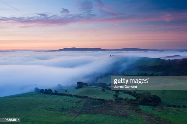 View from Caer Caradoc towards the Clee Hills at Dawn, Shropshire, England, UK