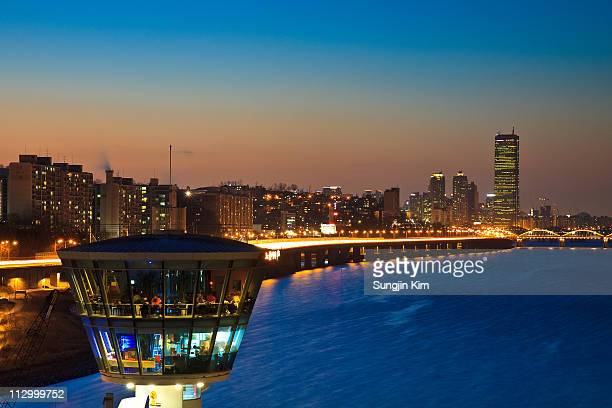 view from cafe at dongjak bridge - sungjin kim stock pictures, royalty-free photos & images