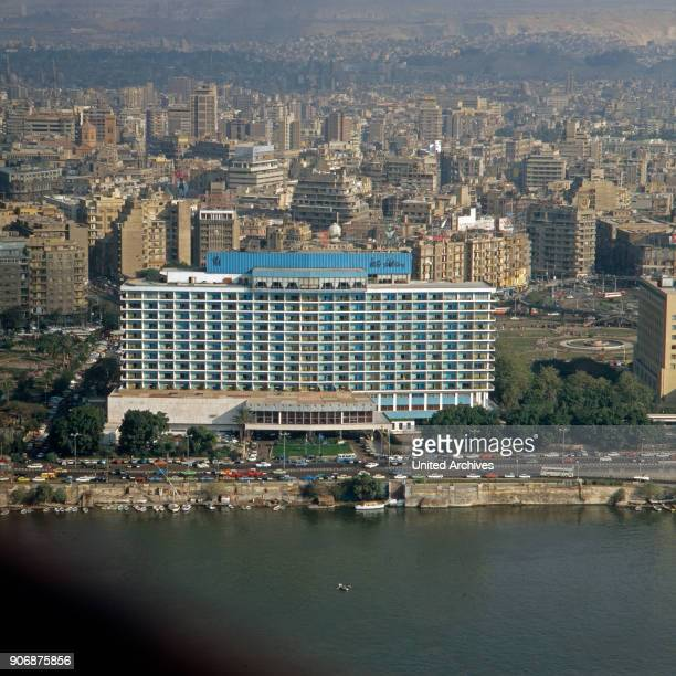 View from Cairo Tower to the Nile Hilton and Midan al Tahrir square , Egypt, late 1970s.