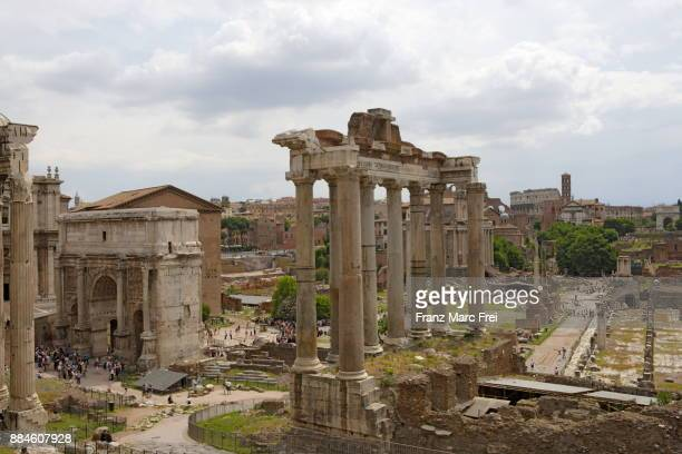 View from Capitoline hill over Forum Romanum on a cloudy day, Rome, Lazio, Italy