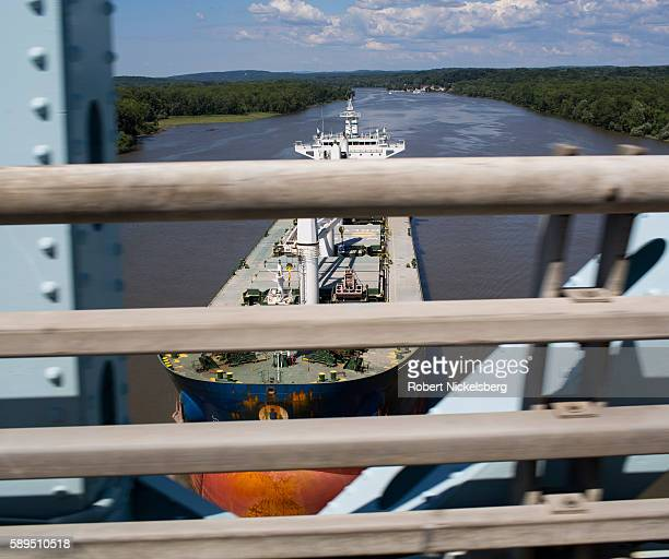 View from Castleton Bridge as a cargo tanker passes beneath on the Hudson River CastletononHudson New York August 3 2016