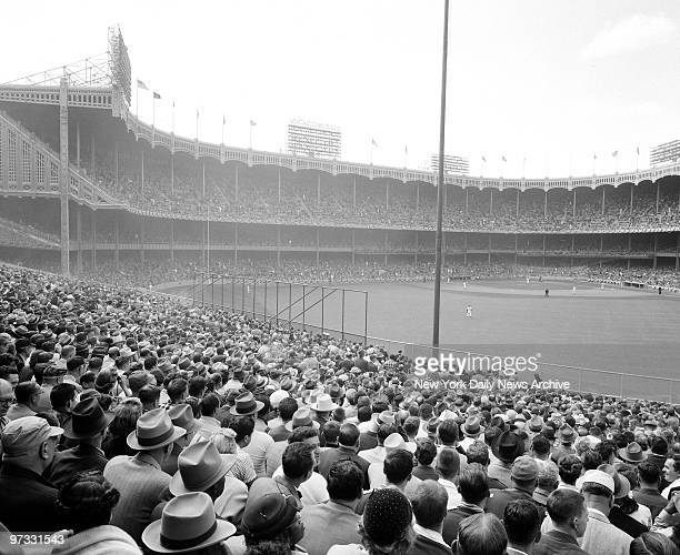 View from center field bleachers points out tremendous gathering977 fans largest crowd in New York since World Series game in 1947