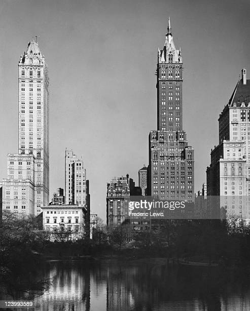 A view from Central Park of the Pierre and Sherry Netherland hotels on Fifth Avenue Manhattan New York City circa 1950 Both buildings were designed...