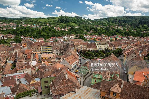 CONTENT] View from clock tower in the UNESCO city of Sighisoara Early summer in Romania is perfect time to visit with lush countryside and green...