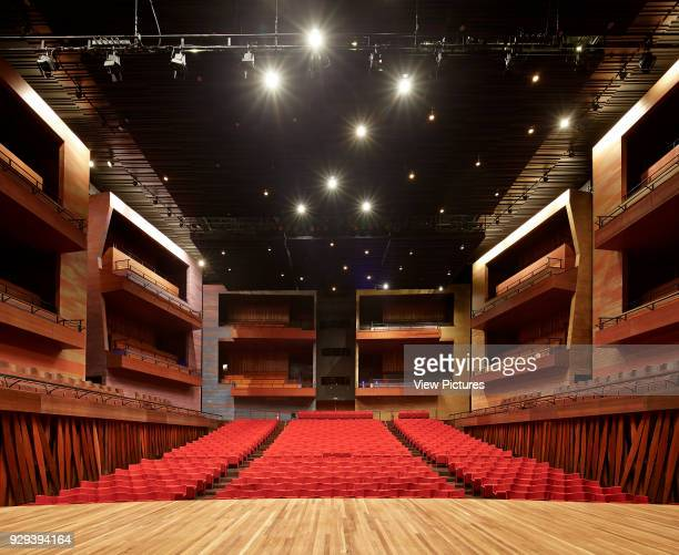 View from concert hall stage towards seating La Cidade das Artes Barra da Tijuca Brazil Architect Christian de Portzamparc 2014