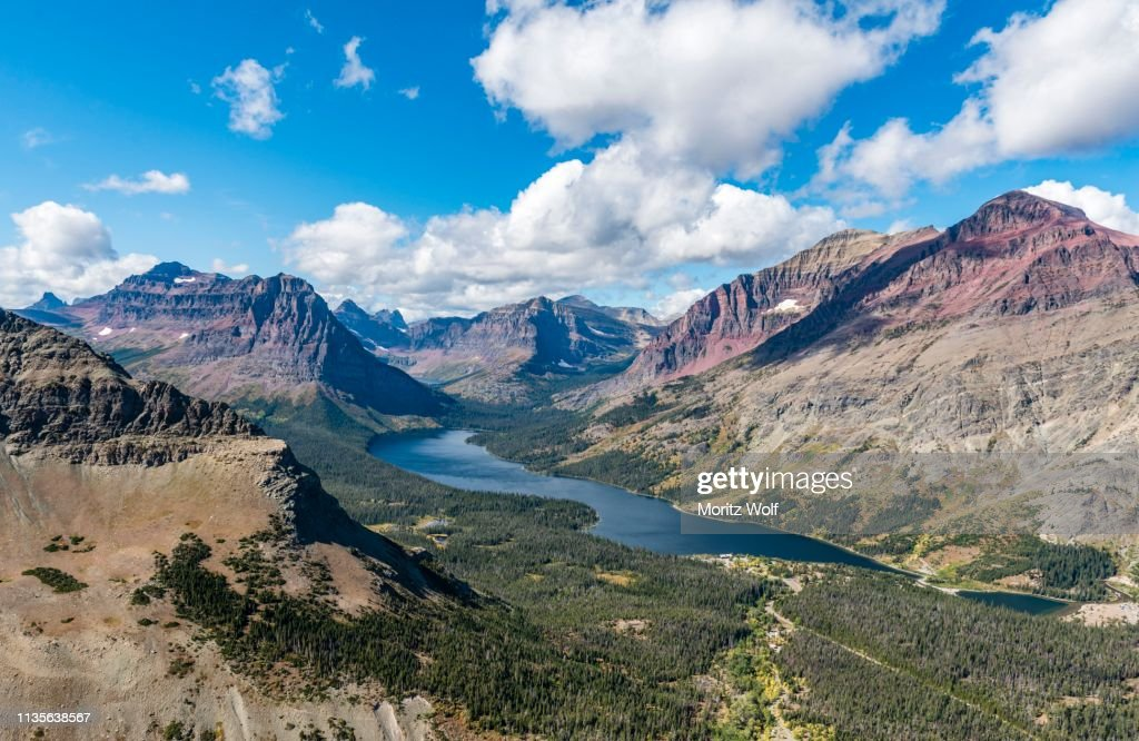 View from Continental Divide Trail onto Mountain Lake Two Medicine Lake with mountain landscape, Sinopah Mountain, Glacier National Park, Montana, USA : Stock Photo