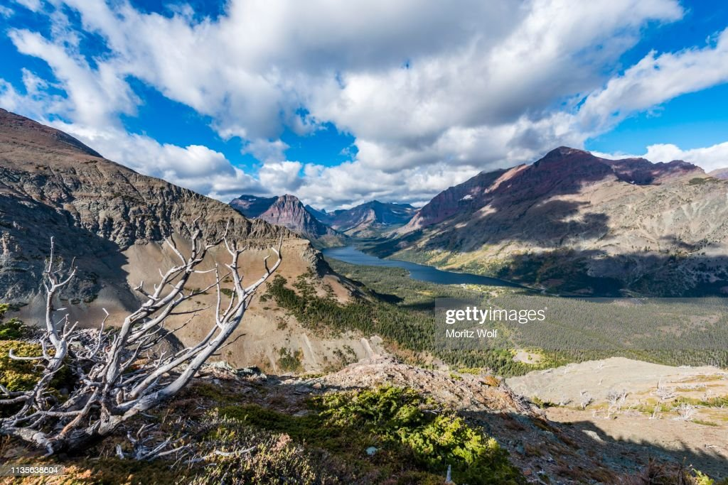 View from Continental Divide Trail onto Mountain Lake Two Medicine Lake with mountain landscape, Rising Wolf Mountain, Glacier National Park, Montana, USA : Stock Photo
