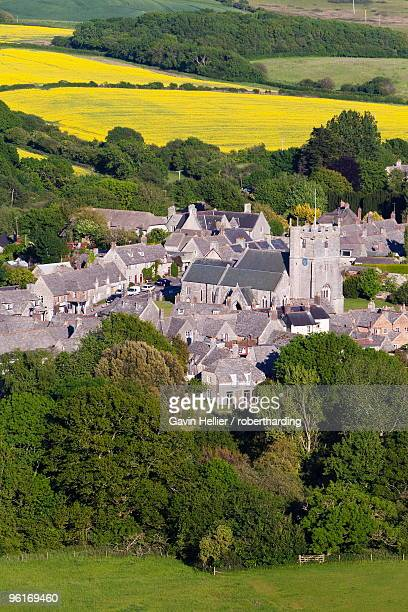 view from corfe castle, corfe, dorset, england, united kingdom, europe - gavin hellier stock pictures, royalty-free photos & images