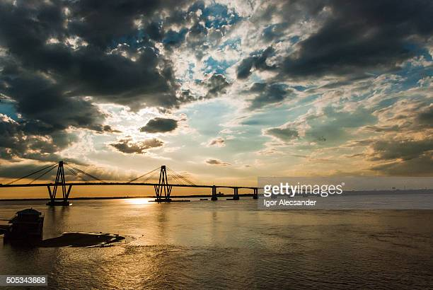 View from Costanera, Bridge General Belgrano over Paraná river, Corrientes, Argentina