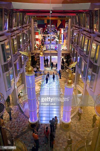 View from Deck 7 onto Royal Promenade, Freedom of the Seas Cruise Ship, Royal Caribbean International Cruise Line.