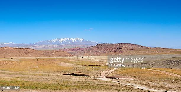 View from desert to snow capped High Atlas mountains