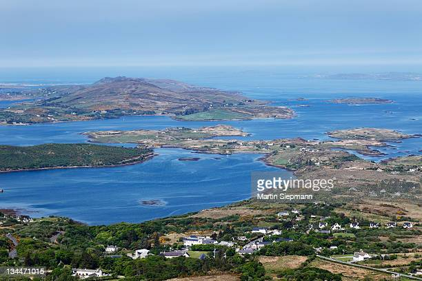 View from Diamond Hill over Letterfrack and Ballynakill Harbour, Connemara National Park, County Galway, Republic of Ireland, Europe