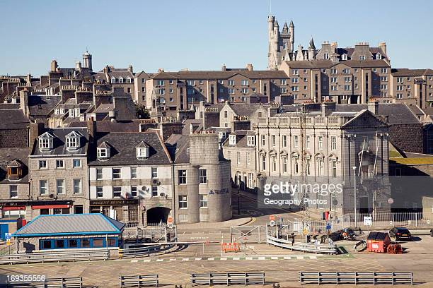View from docks over central buildings Aberdeen Scotland