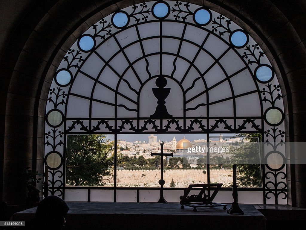 View from Dominus Flevit church of city Jerusalem : Stock Photo