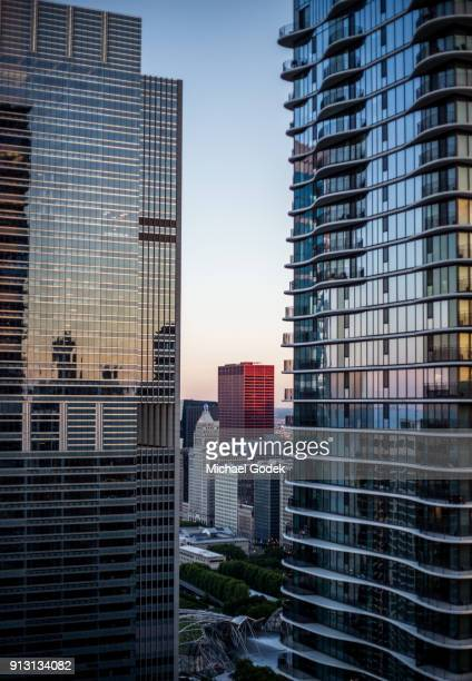 View From Downtown Chicago Rooftop During Sunset