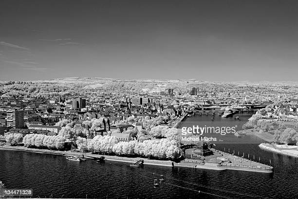 view from ehrenbreitstein fortress, koblenz, rhineland-palatinate, germany, europe - michael mucha stock-fotos und bilder