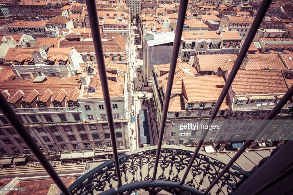 view from elevator santa justa to downtown : Stock Photo