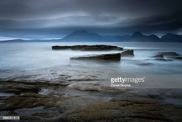 View from Elgol beach to Cuillin hills, skye