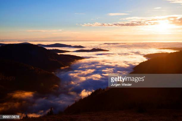 view from feldberg over the rhine valley to the vosges, inversion weather, black forest, baden-wuerttemberg, germany - inversion_(meteorology) stock pictures, royalty-free photos & images