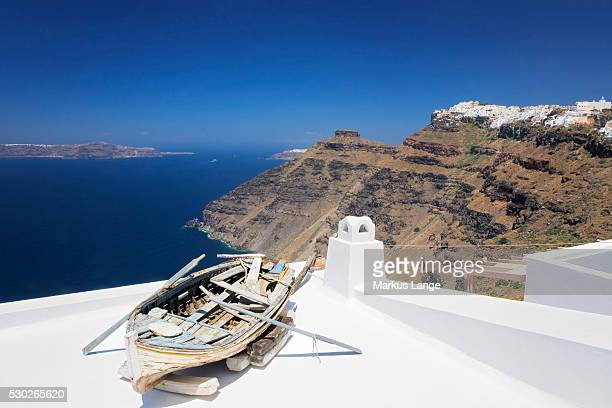 view from firostefani to imerovigli, santorini, cyclades, aegean sea, greek islands, greece, europe - whitewashed stock photos and pictures