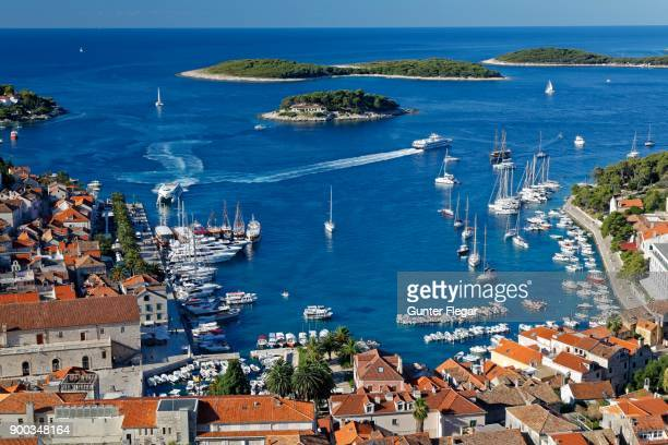 view from fortress spanjola on harbor and city hvar, island of hvar, split-dalmatia, croatia - hvar stock photos and pictures