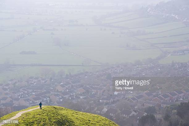 View from Glastonbury Tor, Glastonbury, Somerset, England