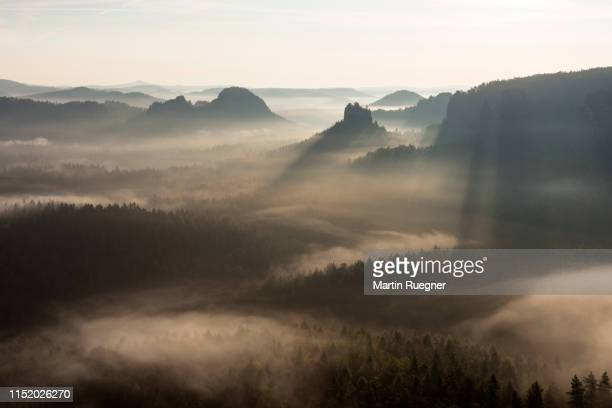 view from gleitmannshorn to fog in the valley and sandstone cliffs (hinteres raubschloß) with dramtic sunlight after sunrise. - paisagem espetacular - fotografias e filmes do acervo