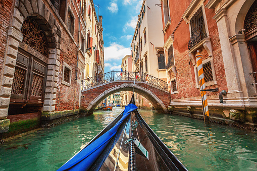 View from gondola during the ride through the canals, Venice 510570992