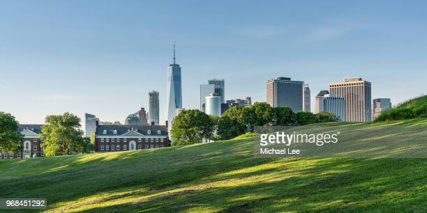 view from governors island - new york - hill stock pictures, royalty-free photos & images