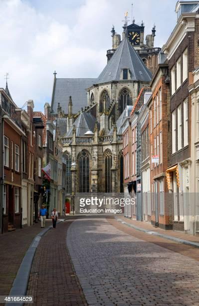 View from Grotekerksbuurt street Grote Kerk, cathedral church, Dordrecht, Netherlands.