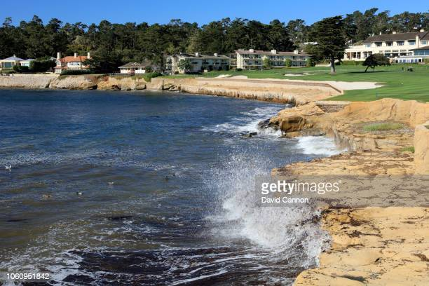 A view from half way down the par 5 18th hole at Pebble Beach Golf Links the host venue for the 2019 US Open Championship on November 8 2018 in...