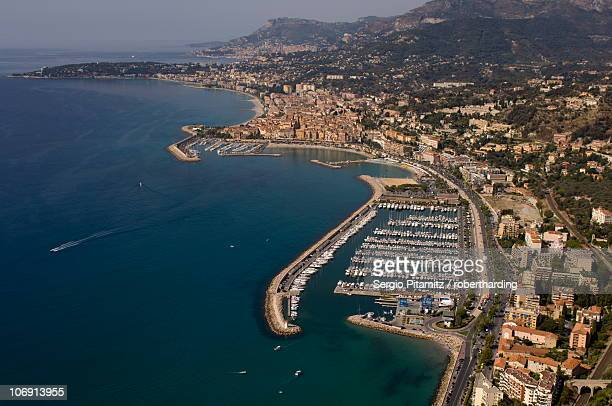 View from helicopter of Menton, Alpes-Maritimes, Provence, Cote d'Azur, French Riviera, France, Mediterranean, Europe