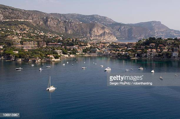 View from helicopter of Villefranche Bay, Alpes-Maritimes, Provence, Cote d'Azur, French Riviera, France, Mediterranean, Europe