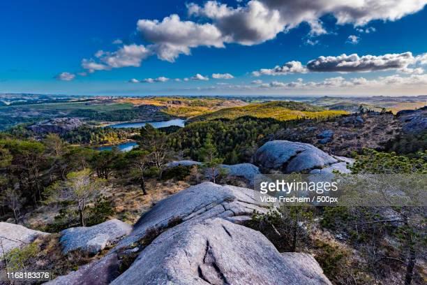 view from hetlandsskogen, norway - egersund stock photos and pictures