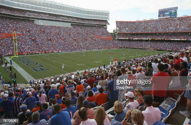 A view from high in the stadium as the Troy Trojans take on the Florida Gators at Ben Hill Griffin Stadium on September 8 2007 in Gainesville Florida