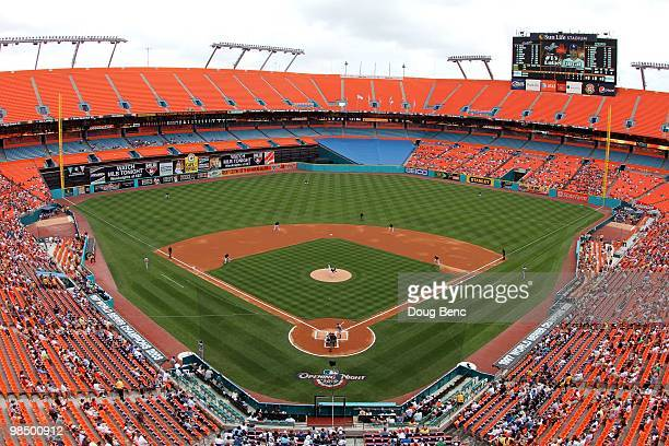 View from high in the stadium in the first inning as the Los Angeles Dodgers take on the Florida Marlins at Sun Life Stadium on April 11, 2010 in...