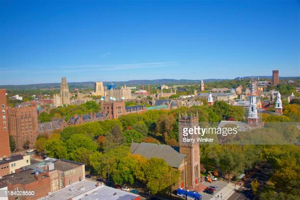 view from high up in new haven, connecticut - new haven connecticut stock pictures, royalty-free photos & images