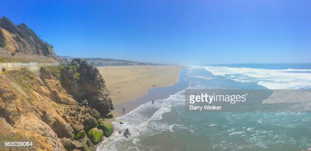 View from high up of beach, Pacific Ocean, wave and coastline, San Francisco