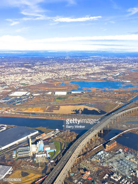 view from high up of new jersey turnpike - new jersey turnpike stock photos and pictures