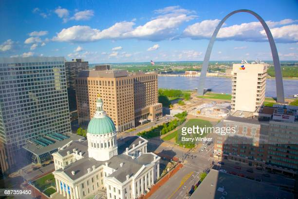 View from high up of St. Louis and Gateway Arch