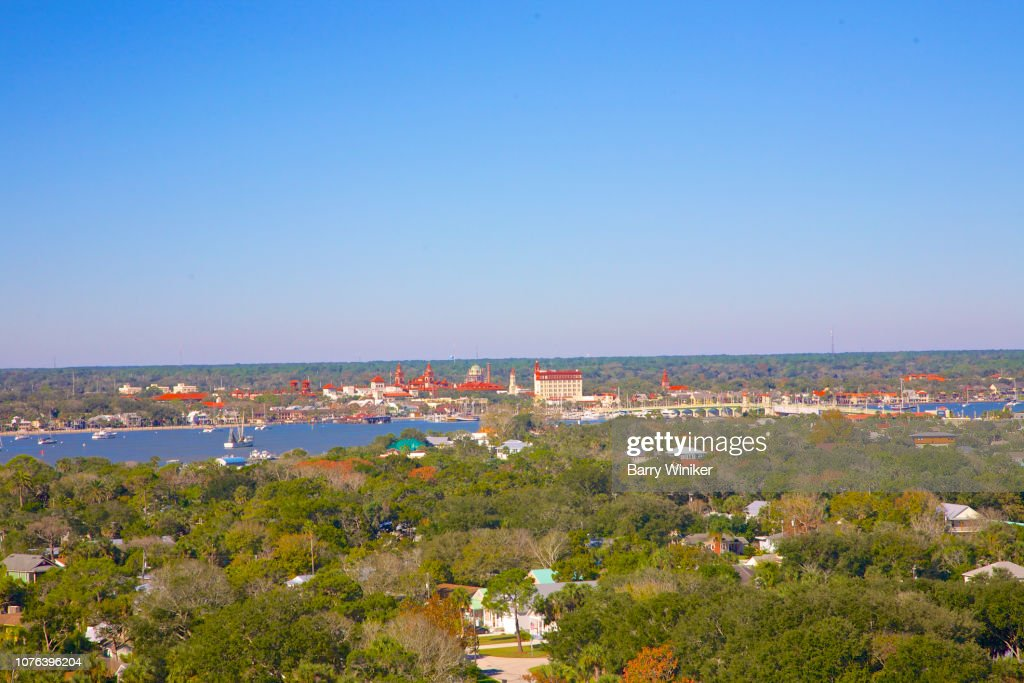 View from high up of trees and Downtown St. Augustine : Foto de stock